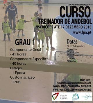 Cartaz Curso de Treinadores de Grau 1 - Aveiro 2018