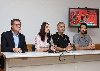 Conferência Imprensa Portugal : Roménia - Augusto Silva, Engª Ana Maria - CM de Santo Tirso, Paulo Pereira, Tiago Rocha