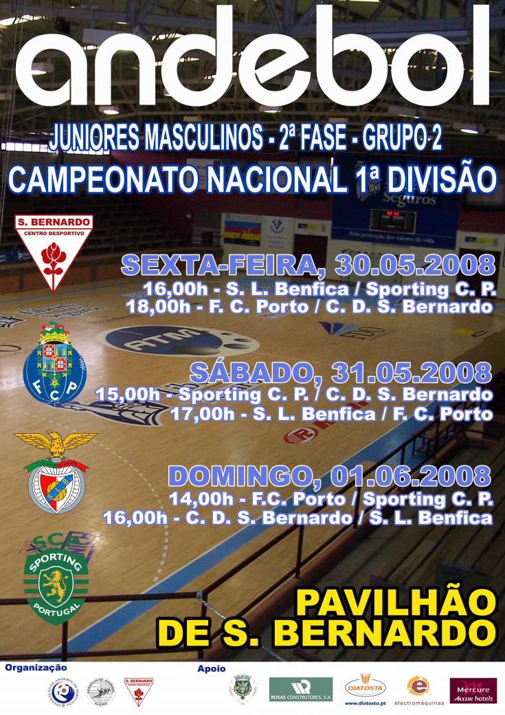 Cartaz 2ª Fase Campeonato Nacional 1ª Divisão Juniores Masculinos Grupo 2