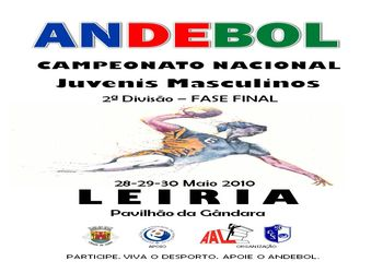 Cartaz da Fase Final do Campeonato Nacional 2ª Divisão de Juvenis Masculinos - Leiria, 28 a 30 de Maio