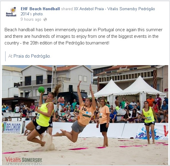 Página Facebook EHF - Andebol de Praia