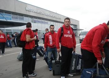 Seleção na chegada a Sarajevo