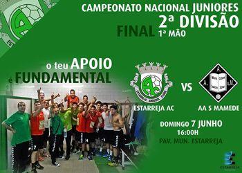 Cartaz 1º jogo final do Campeonato Nacional Juniores Masculinos 2ª Divisão