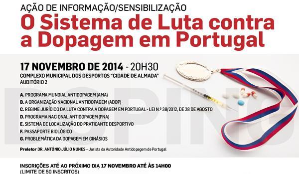 Banner Ação de Informação e Sensibilização – O Sistema de Luta contra a Dopagem em Portugal a 17 novembro