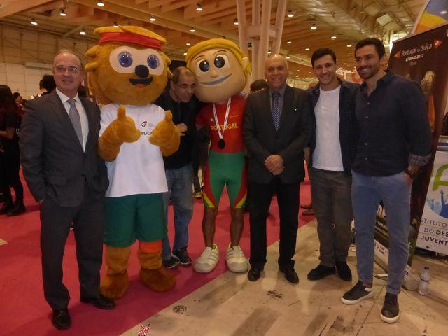 Miguel Laranjeiro, Pedro Portela, Pedro Solha e o Presidente da Federação de Atletismo, José Machado e Manitas na Futurália 2017
