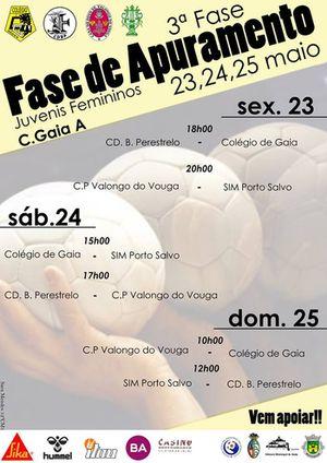 Cartaz Fase Apuramento Campeonato Nacional Juvenis Femininos - Gaia, 23 a 25 Maio