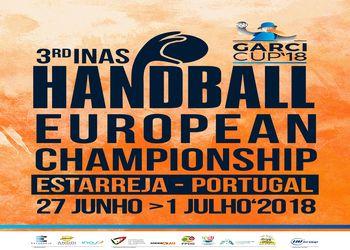 Cartaz 3º Campeonato da Europa de Andebol INAS - destaque principal