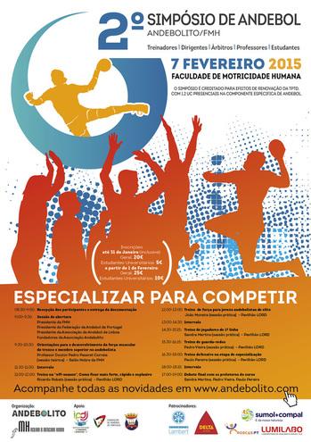 "Cartaz 2º Simpósio de Andebol ""Especializar para Competir"""