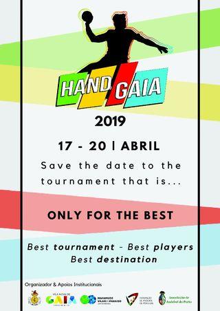 Cartaz HANDGAIA 2019 – Torneio Internacional de Andebol Jovem Masculino
