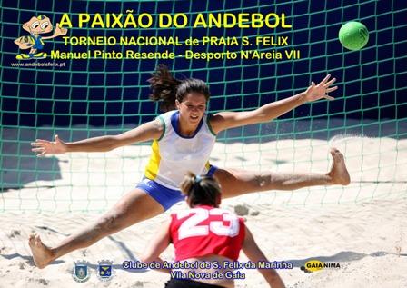 """Cartaz Torneio de Andebol de Praia – Manuel Pinto Resende – Animargaia """"Andebol N'Areia VII"""""""