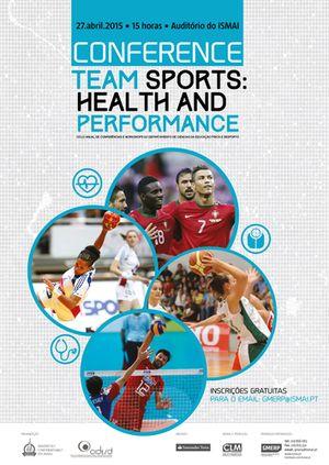 Cartaz Conferência Team Sports - Health and Performance - 27.04.15, Instituto Universitário da Maia