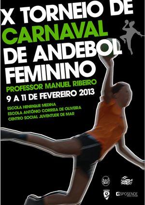 Cartaz Torneio de Carnaval de Andebol Feminino Prof. Manuel Ribeiro