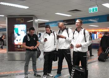 Seleção Nacional na chegada à Hungria - Outubro 2014