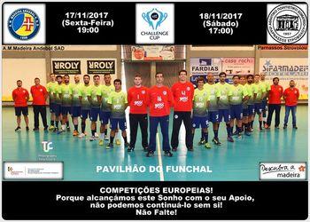 Cartaz AM Madeira A. Sad - Parnassos Strovolou - 3ª eliminatória Challenge Cup