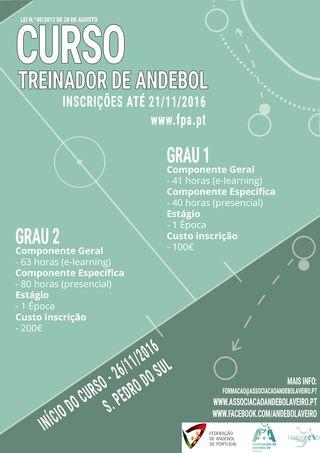 Cartaz Curso de Treinador de Andebol de Grau 1 e de Grau 2 – Aveiro 2016