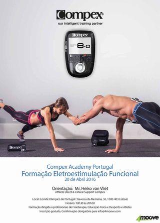 Cartaz Formação Eletroestimulação Funcional - Compex Academy Portugal