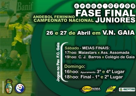 Cartaz Fase Final B CN Juniores Femininos - Gaia