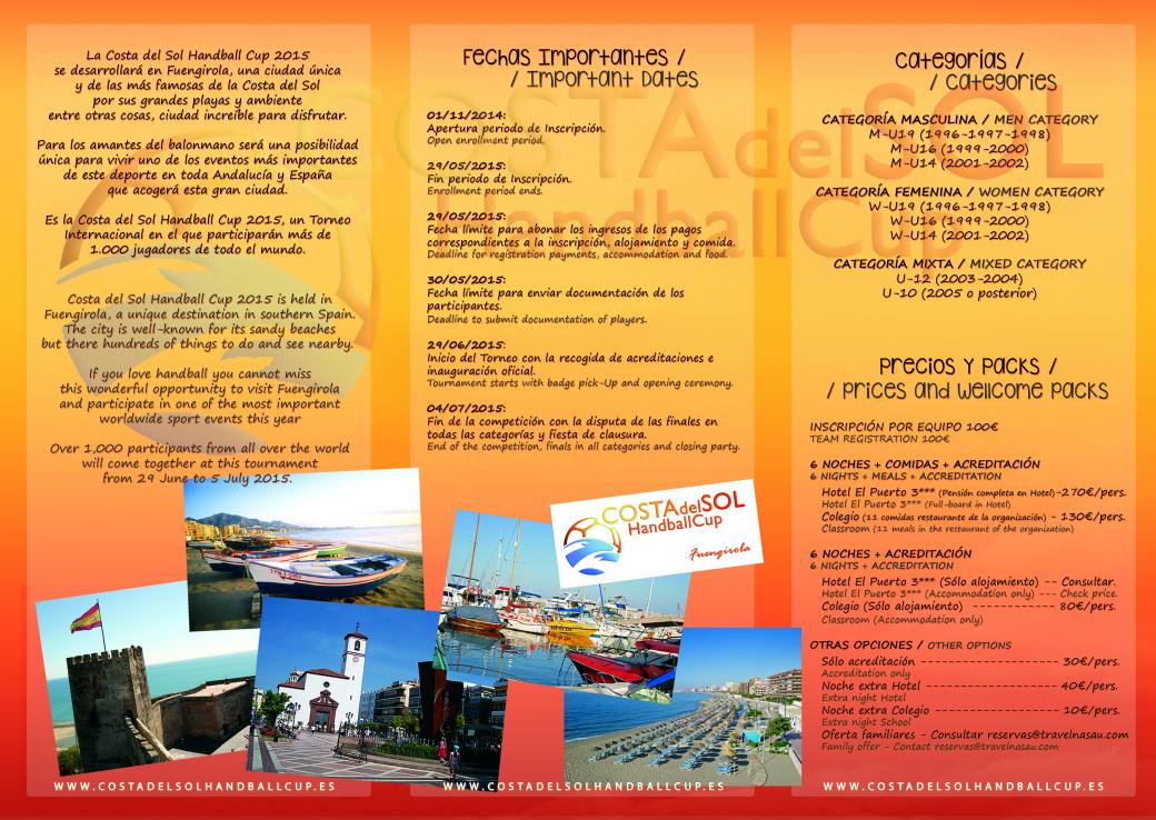 Folheto Costa del Sol Handball Cup 2015