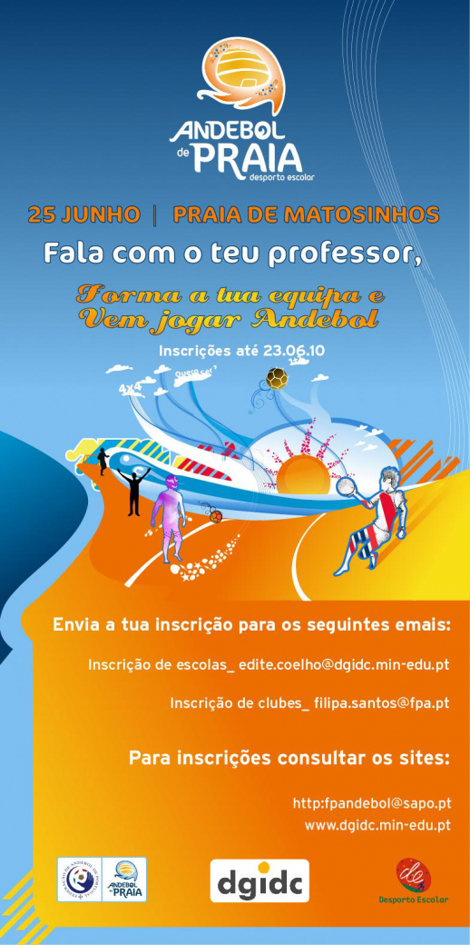 Flyer Andebol de Praia - Desporto Escolar - 25.06.10, Matosinhos