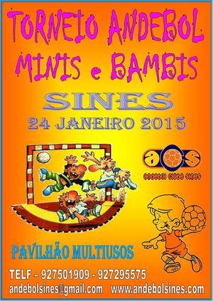 Cartaz Mega Torneio de Minis e Bambis em Sines