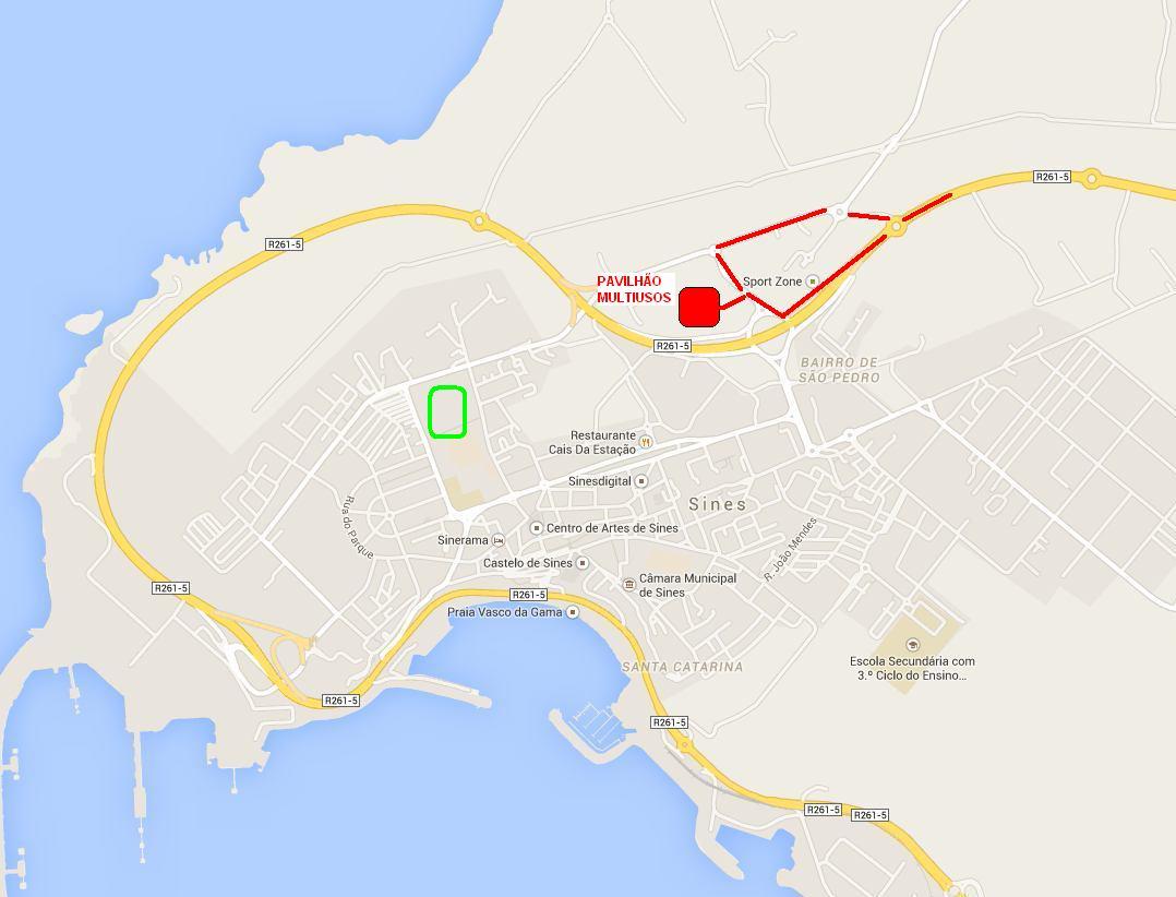 Mega Torneio de Minis e Bambis em Sines - mapa local pavilhão