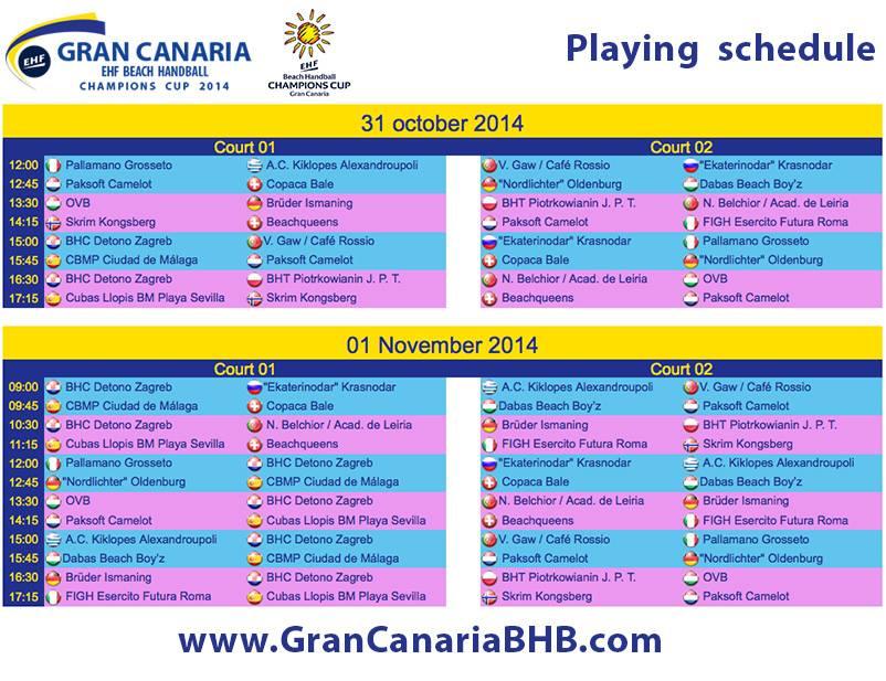 Calendário 1ª Taça dos Campeões Europeus de Andebol de Praia - 31.10 a 02.11.14 - Las Palmas - Gran Canária