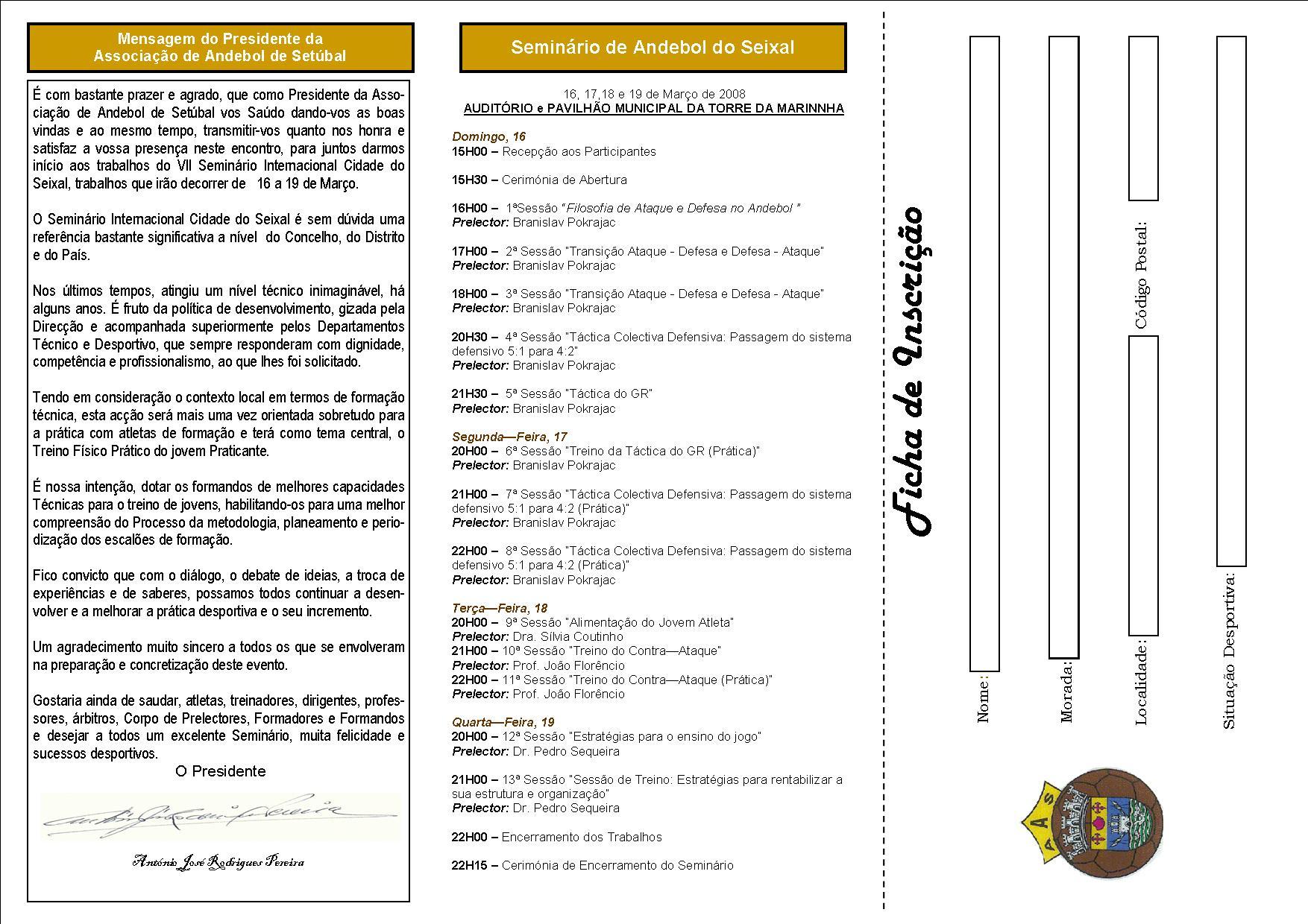 Ficha de Inscrição para o VII Seminário Internacional de Andebol Cidade do Seixal