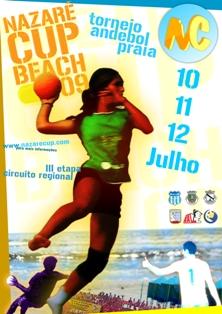 Cartaz 3ª etapa do Campeonato Regional Andebol Praia 2009 - Praia da Nazaré - 10,11 e 12 de Julho