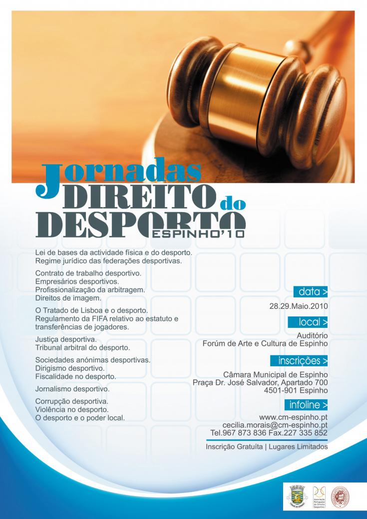 Cartaz Jornadas do Direito do Desporto - 28 e 29.05.10, Espinho