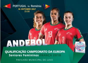 Cartaz Portugal - Roménia - qualificação Euro 2018 Seniores Femininos