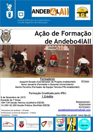 Cartaz Acção de Formação sobre Andebol Adaptado - AA Castelo Branco - 08.12.15