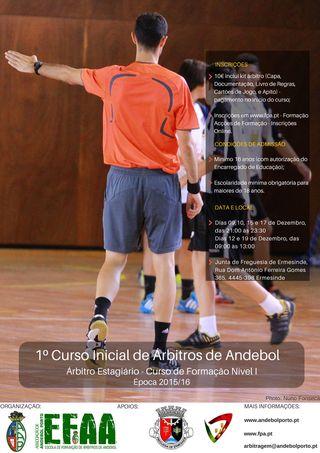 Cartaz AA Porto - 1º Curso Inicial de Árbitros de Andebol
