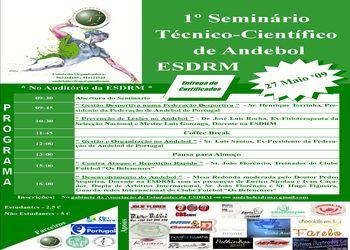 Cartaz 1º Seminário Técnico Científico de Andebol da Escola Superior Desporto Rio Maior