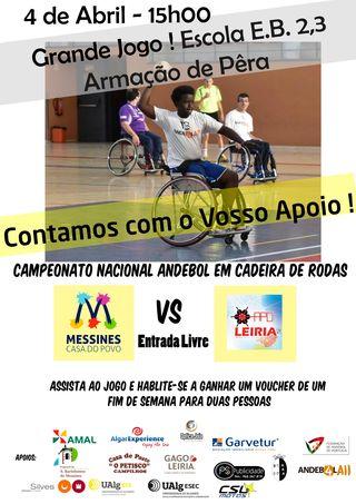 Cartaz Andebol em Cadeira de Rodas em Armação de Pêra a 4 de Abril