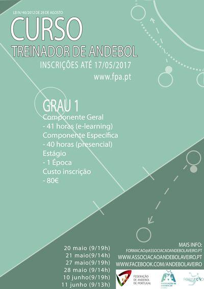 Cartaz Curso de Treinadores de Grau 1 – Aveiro – 2ª edição