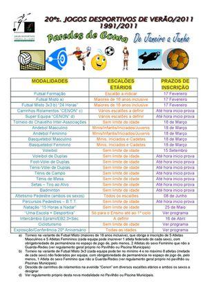 Cartaz 20ª edição dos Jogos Desportivos de Verão/2011