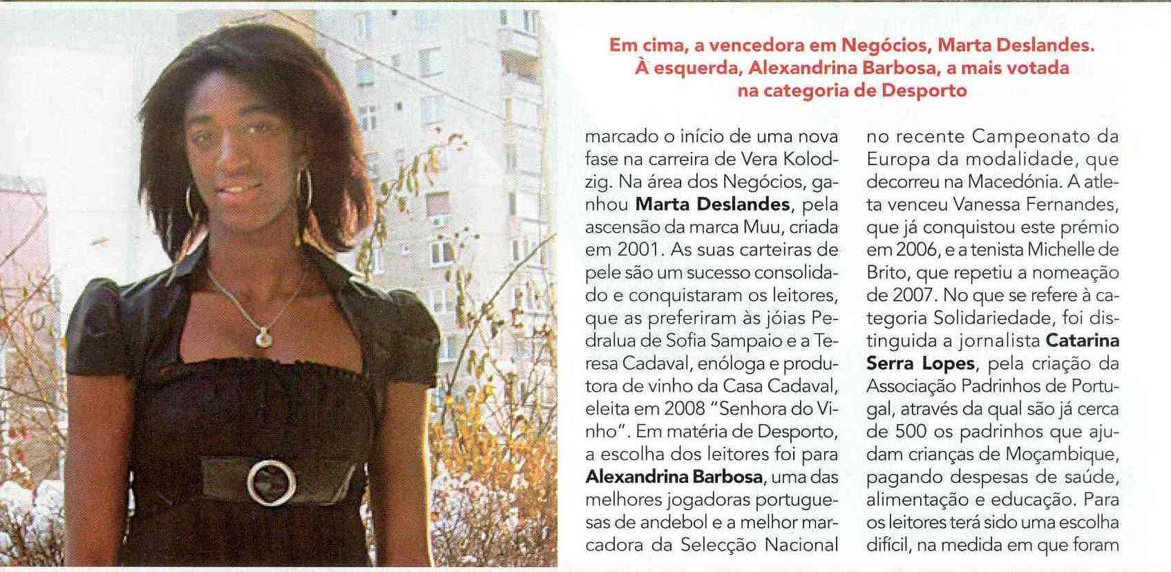 Alexandrina Barbosa - Personalidade do Ano 2008 - Desporto - Revista Lux