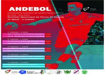 Cartaz da Fase Final do Campeonato Nacional de Juvenis Masculinos da 2ª Divisão - Póvoa de Varzim