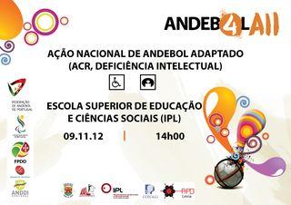Cartaz Acção de Formação de Andebol Adaptado a 9 de Novembro em Leiria