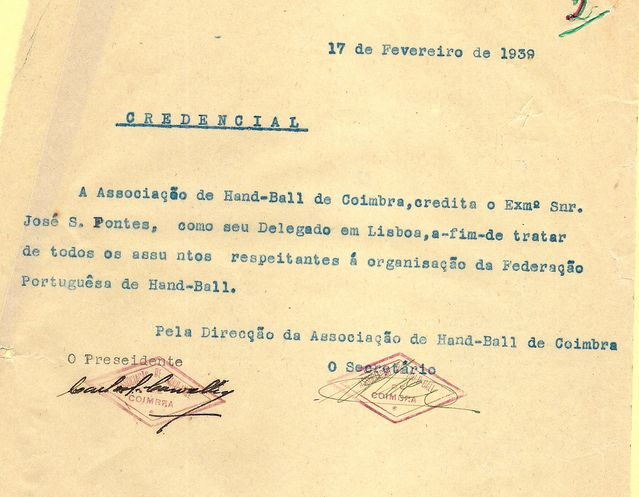 75º aniversário FAP - Credencial 17 de Fevereiro de 1939