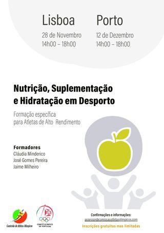 Cartaz Formação Nutrição Suplementação e Hidratação no Desporto