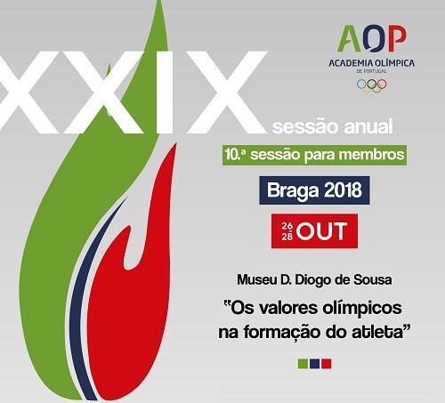 Cartaz XXIX Sessão Anual e 10.ª Sessão para Membros da Academia Olímpica de Portugal