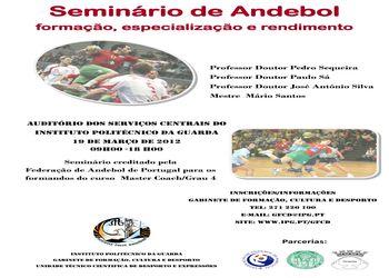 Cartaz Seminário Formação, Especialização e Rendimento no Andebol