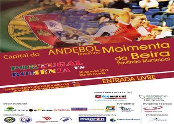 Cartaz Portugal - Roménia - qualificação Euro 2012 seniores femininos - Moimenta da Beira