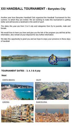 Cartaz XXI Torneio de Andebol Banyoles City