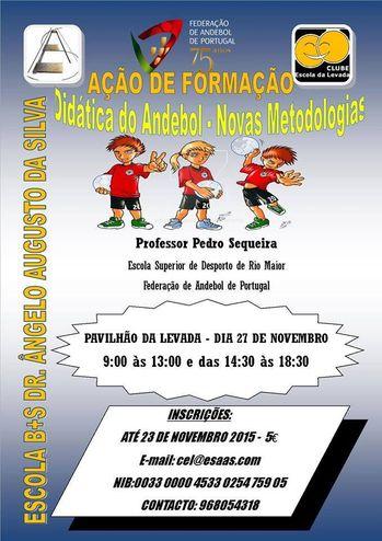 Cartaz Didáctica do Andebol e as Novas Metodologias - Pav. Levada - 27.11.15