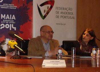 João Florêncio e Ana Seabra na apresentação do Portugal-Polónia