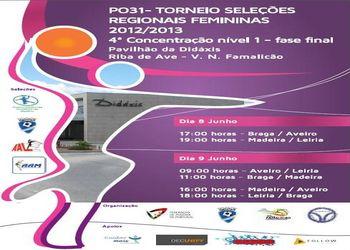 Cartaz 4ª Concentração Nível 1 - fase final - Torneio Nacional Selecções Regionais Femininas - Pav. Didáxis