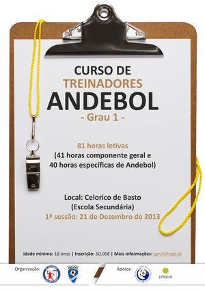 Cartaz Curso de Treinador de Andebol de Grau 1 da AA Braga 2014