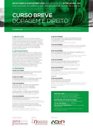 Cartaz Curso Breve sobre Dopagem e Direito